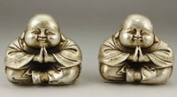 TNUKK A Pair of Chinese Old White Copper Handwork Carving Favorite Buddha Monk Statues.
