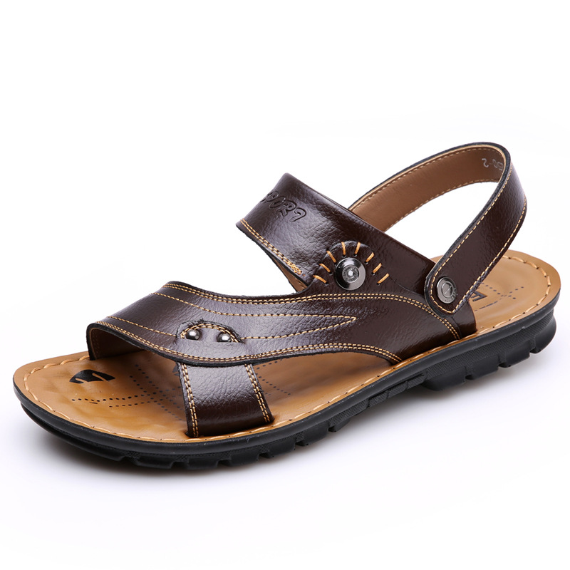 2018 Summer new sandals men open-toed dual-use non-slip PU leather beach sandals men casual shoes slippers sapato masculino