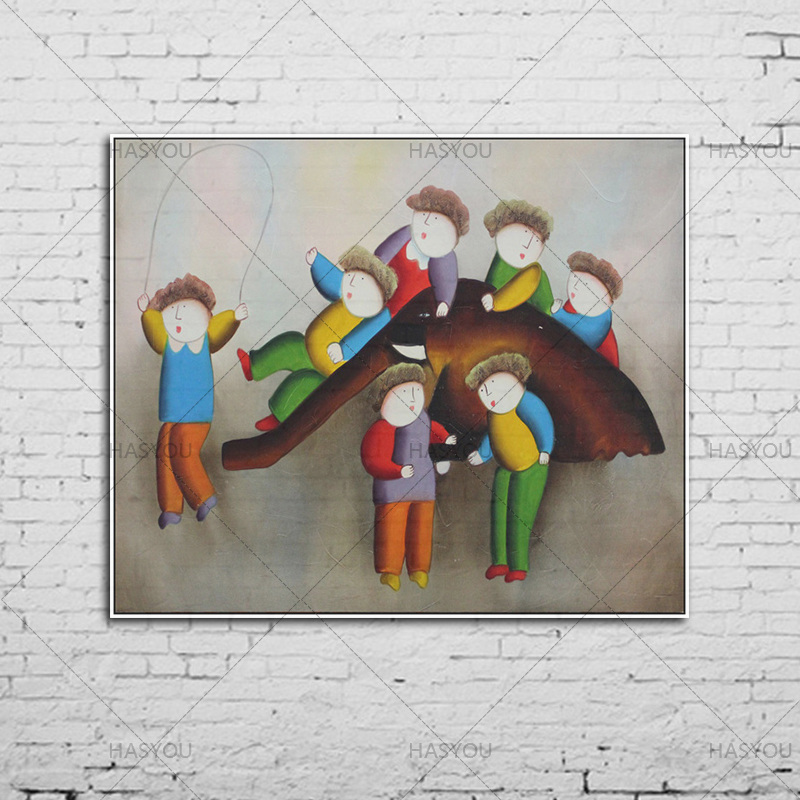 wall art handmade canvas painting handpainted modern oil painting wall art for living room hotel kindergarten wall decoration in Painting Calligraphy from Home Garden