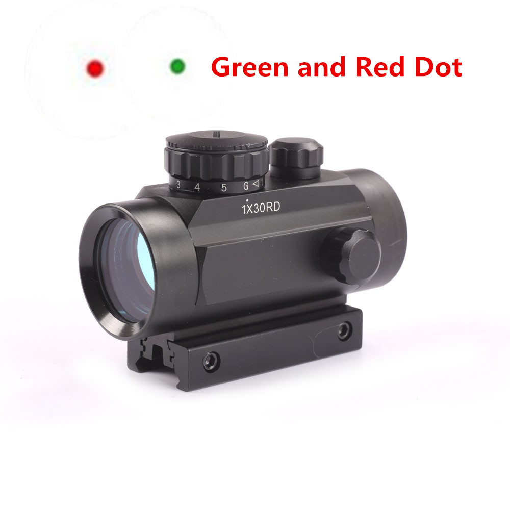 Hunting 1X30 Red Green Dot Sight Optics Tactical Scope Holographic Riflescope Picatinny Mount Deck 20mm 11mm Weaver Mounts