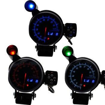 95 มิลลิเมตร Tachometer RPM Gauge Stepper มอเตอร์ Led สามสีด้วย Shift Light Black Face
