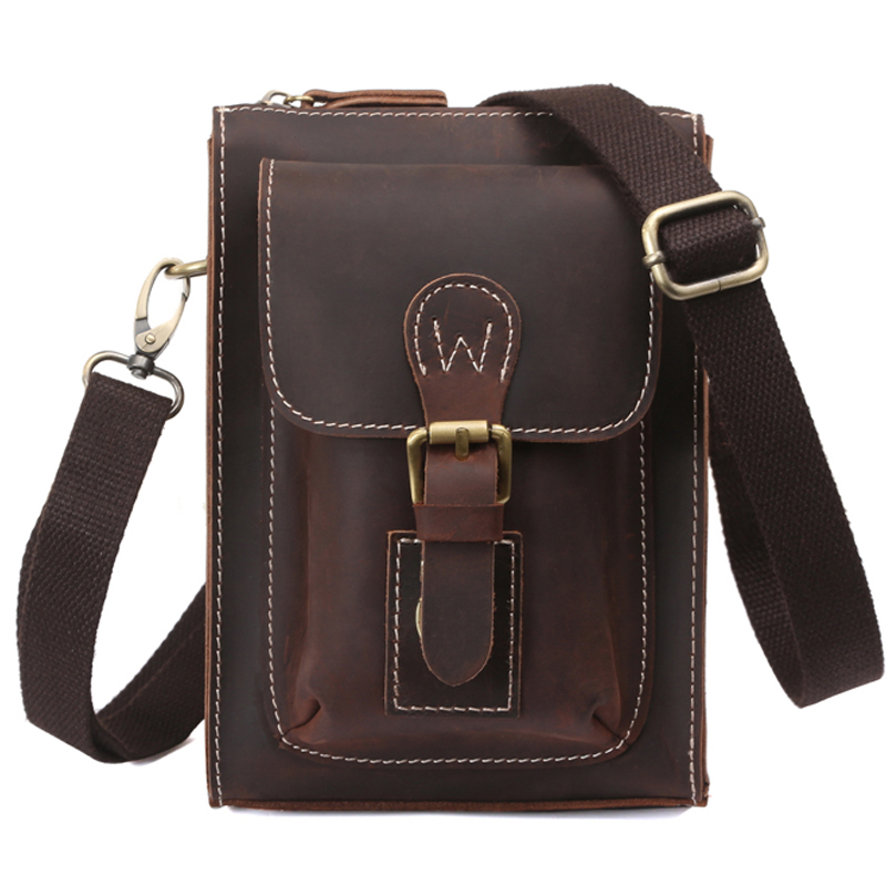 TIDING Cowhide leather men small messenger bag fashion waist pack Multifunctional vintage style NEW 31052
