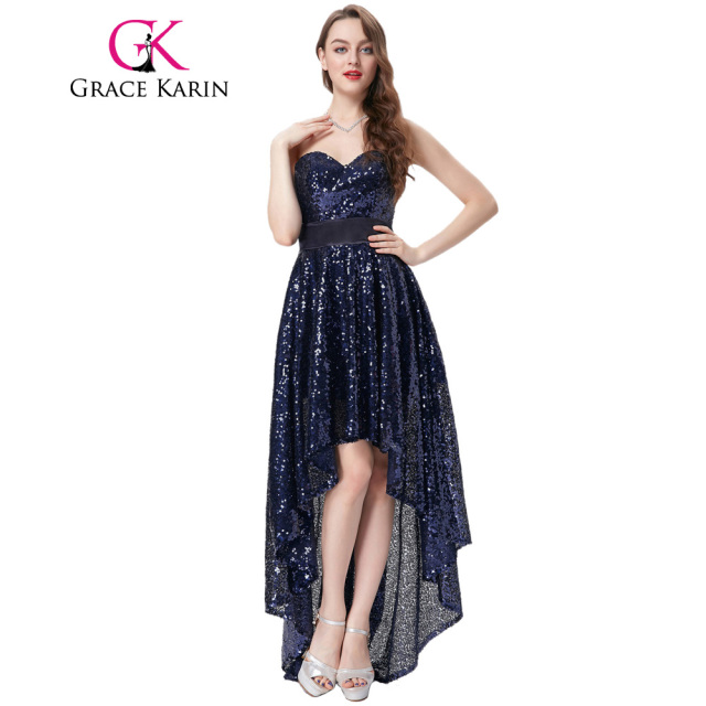 Grace Karin Evening Dress Long Back Short Front Navy Blue Sequin Formal Gowns Wedding Party