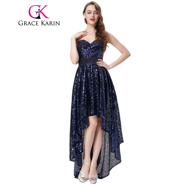 Grace karin abendkleid lange zurück kurzen vorder navy blau ...