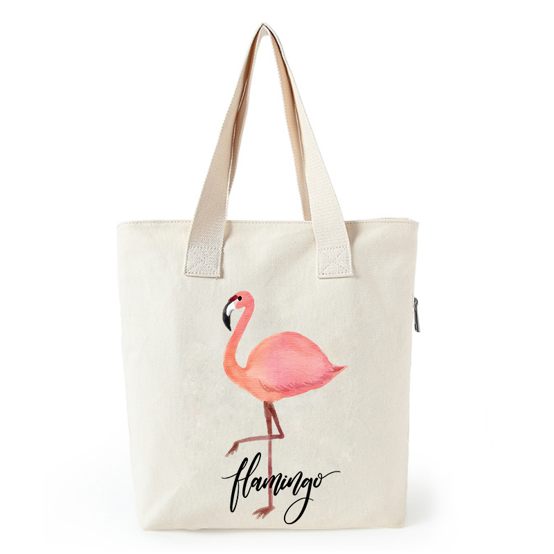 Flamingo print canvas tote bag customized eco bags custom made shopping bags with logo  Dachshund Shepherd Dog Poodle (8)