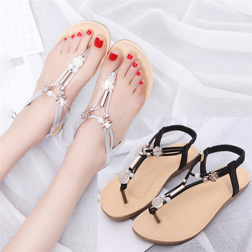 Hot Sale Women Sandals Bohemia Ankle-Strap Flops Summer Flat Shoes Woman Shoes #0329 new fashion women sandals hot sale 2017 bohemia ankle strap flops summer flat shoes high quality woman gladiator comfort shoes