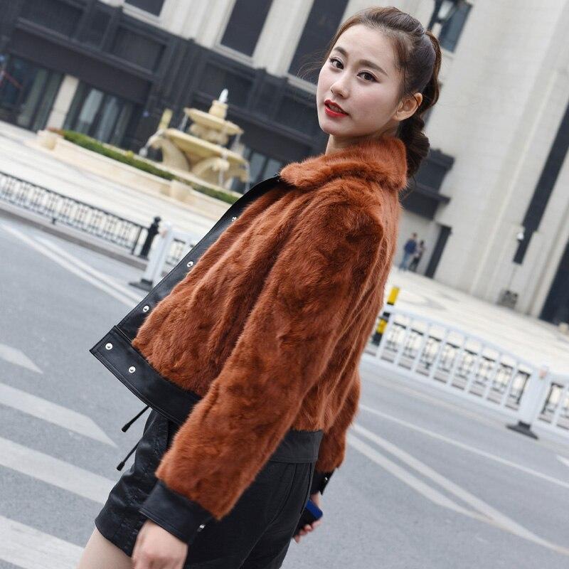 Цветовой контраст лоскутное натуральный норки меховая куртка woemn отложной цвет полный рукав реального норки пальто с мехом 2018 на осень зиму