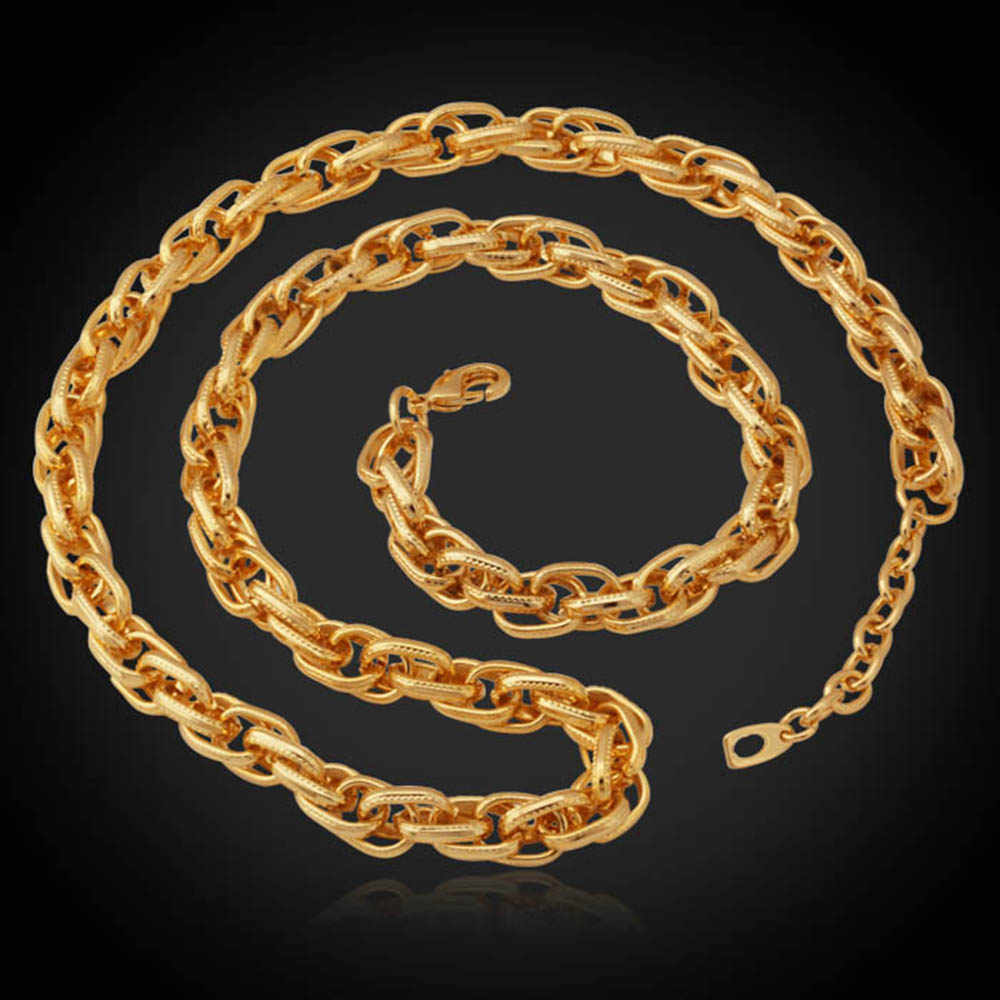 Bizantyjski naszyjnik łańcuch złoty kolor wąż skręcony naszyjnik klasyczny dla mężczyzn biżuteria oświadczenie naszyjnik N435