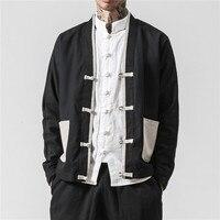 Plus Size 5XL Jackets 2019 Men Cotton Jacket China Style Spliced Closure Button Kongfu Coat Male Loose Cardigan Overcoat Japan