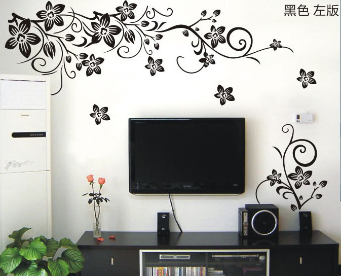20pcs/lot 2014 New Design Hot Selling Fashion Black Floral 3D Art DIY Vinyl  Wall Decals Flower Wall Sticker For Room Decoration In Wall Stickers From  Home ...