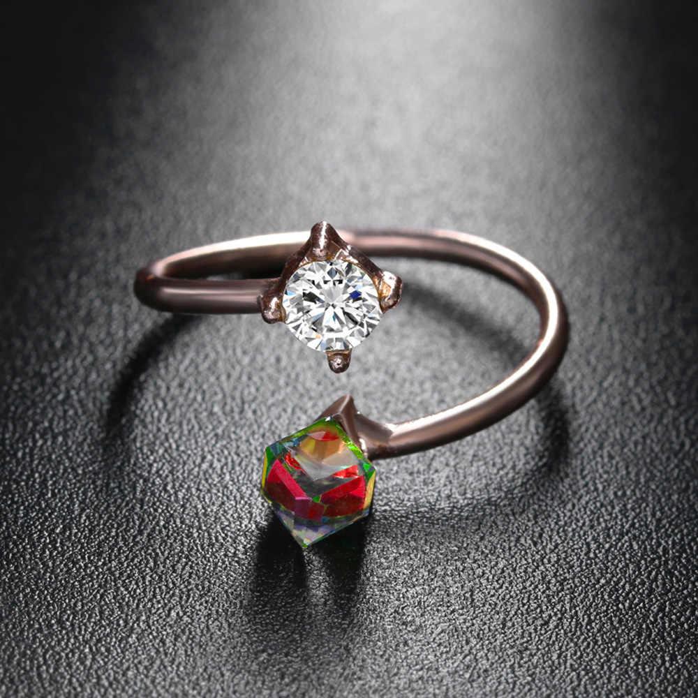 สีสันสดใส Double Cube Zircon คริสตัลแหวนทองสีเปลี่ยนสีแหวนสำหรับเครื่องประดับหมั้นผู้หญิงปรับ