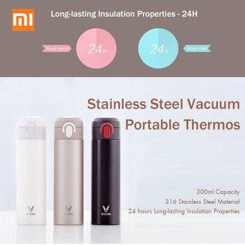 Оригинальный вакуумный термос Mijia VIOMI, чашка из нержавеющей стали, колба, бутылка для воды, чашка, 24 часа, термос, 300 мл, одна рука, Вкл/закрывае...