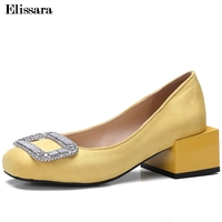 Ladies Pumps 2018 Women Med Heels Pumps Shoes Woman Glitter Crystal Flock Square Toe Party Shoes Plus Size 33 47 Elissara