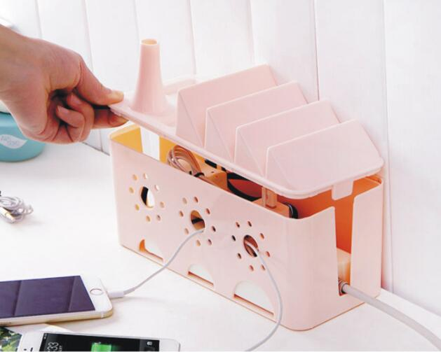1PC Power Strip Storage Box Organizer Cables Electric Wire Case Mobile Phone Holder Safety Socket Outlet Board Container OK 0553