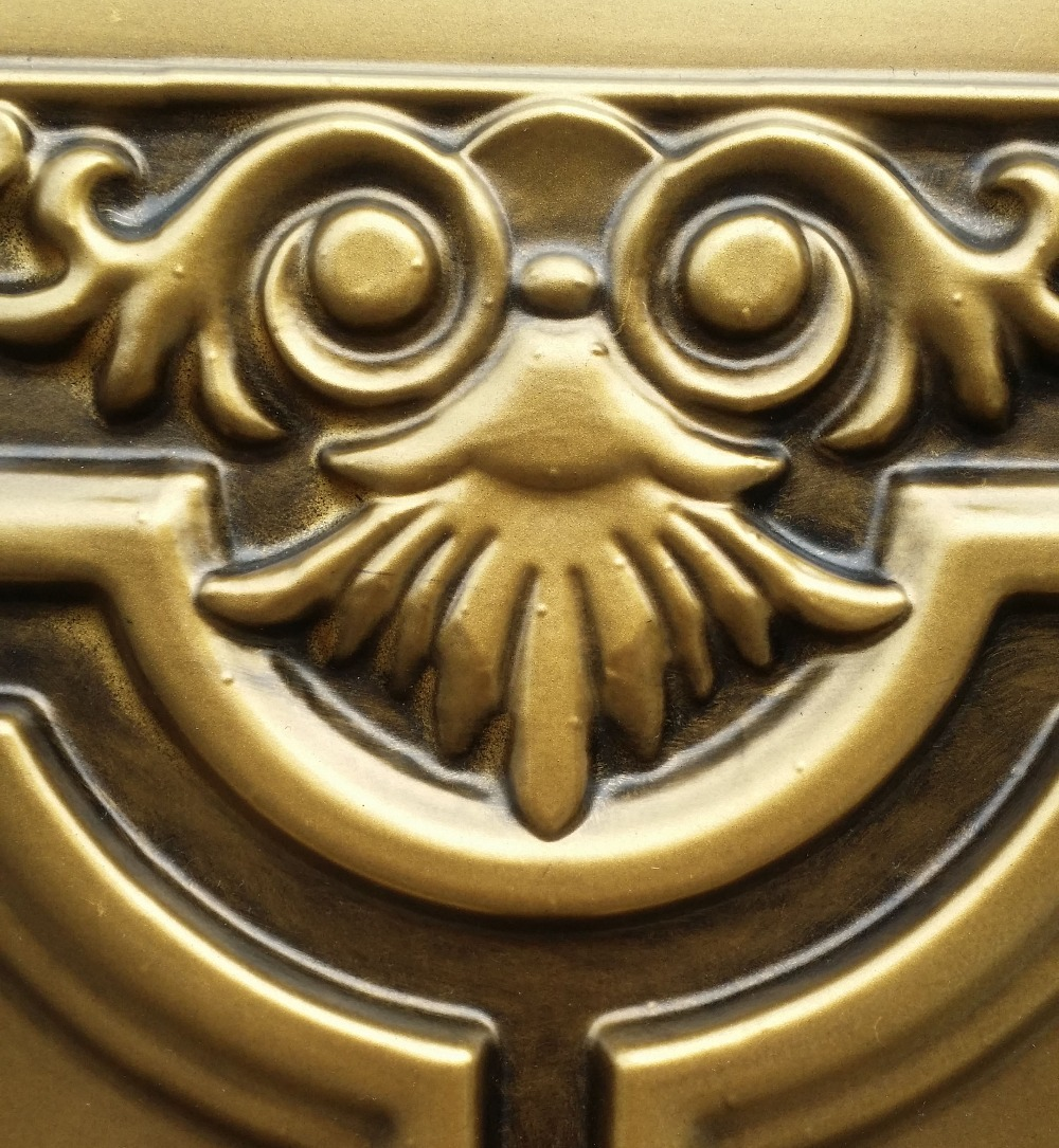 PL16 lacquer painting ceiling tiles antique brass color three ...