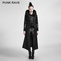 PUNK RAVE black stretch twill fabric coat with calender Scorpion leather and removable hat Y 364