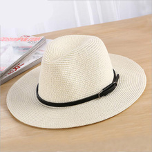 Sombreros de verano para las mujeres hombres sombrero de paja Correa ancha  ala hebilla playa Panamá 49be57517fe