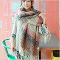 Desigual mulheres de lã de inverno capa xale e lenços xadrez mulheres acessórios de moda tippet lenço de 2015 mulheres