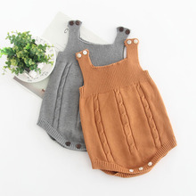 Baby Bodysuit 2018 Autumn Winter Knit Cotton Suspenders Romper Bodie Knitted Clothes Toddler Girl
