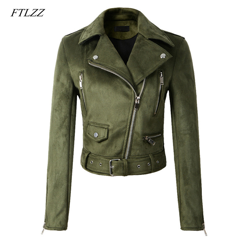 FTLZZ New Women   Suede   Faux   Leather   Jackets Autumn Winter Lady Motorcycle Coat Black Green Yellow Biker Outwear