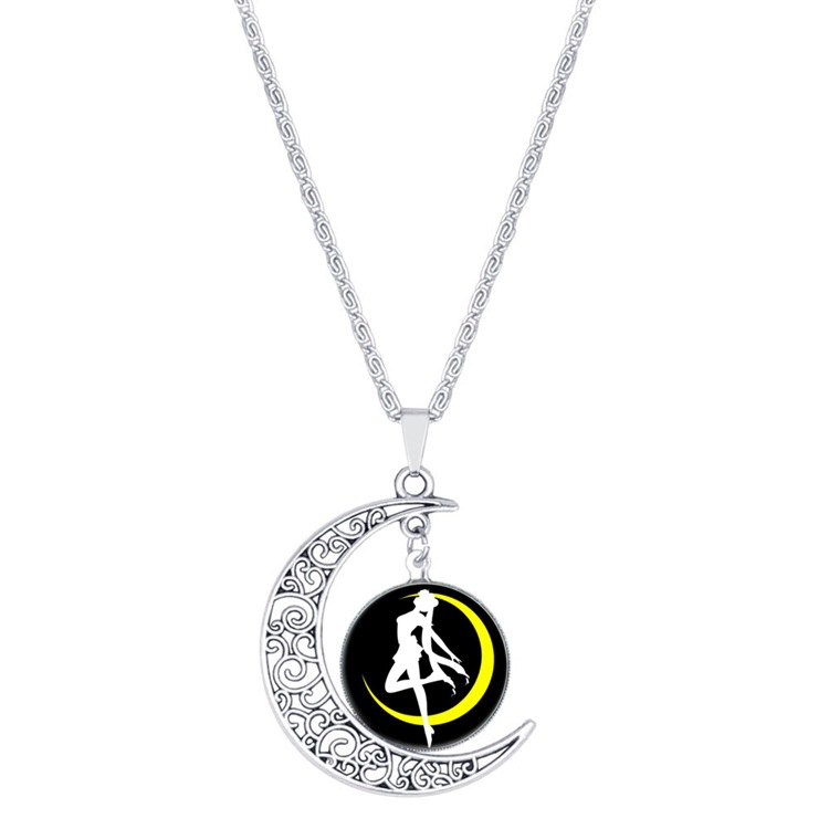 new dance hollow moon love pendant necklace crescent beautiful girl half Sailor Moon lucky amulet jewelry