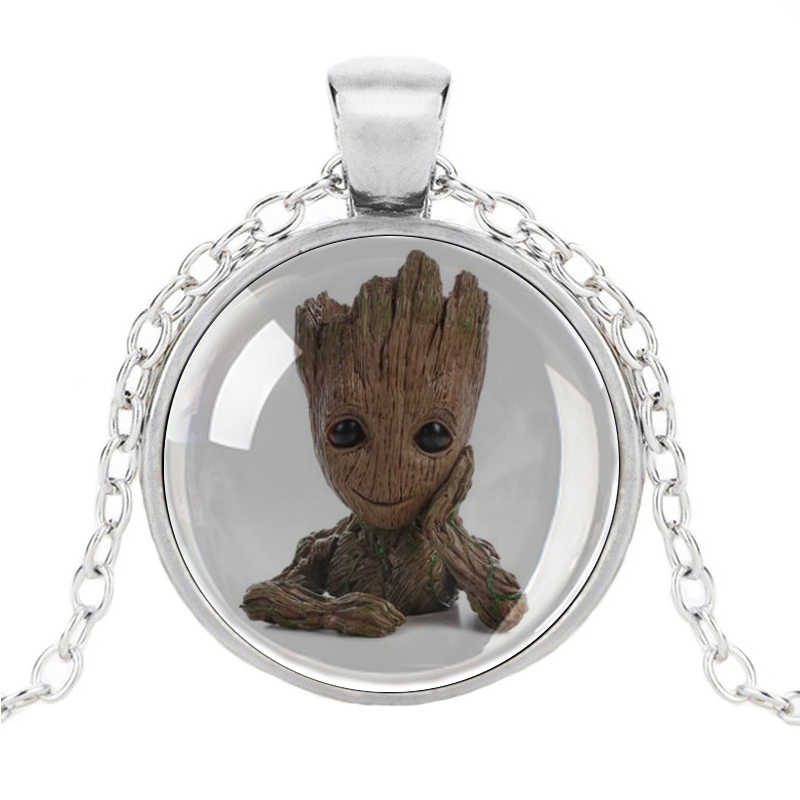 Flowerpot Baby Groot Dancing Necklace Plant Flower Pot Groot Guardians of the Galaxy Pendant Crystal Glass For Women Girls Gifts