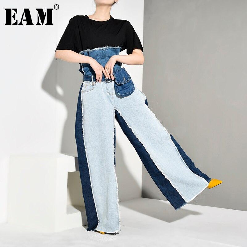 [EAM] Wide Leg Contrast Color Big Size Long Jeans New High Waist Loose Women Trousers Fashion Tide Spring Autumn 2019 JR8410