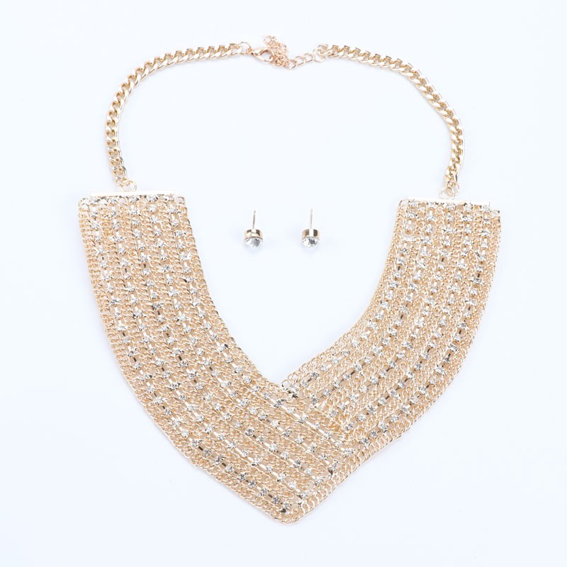 Crystal Rhinestones Gold/Silver Plated Fashion Jewelry Sets V Collar Bead Necklaces Earrings Set For Women Wedding Party