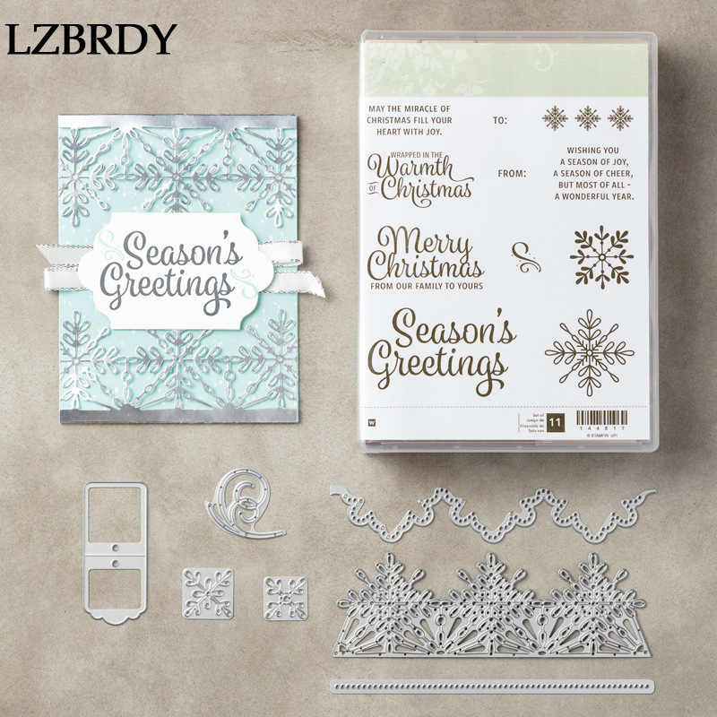 2019 New Snow Flower Edge Kscraft Stamps and Dies for Card Making Scrapbooking Christmas Die Cuts