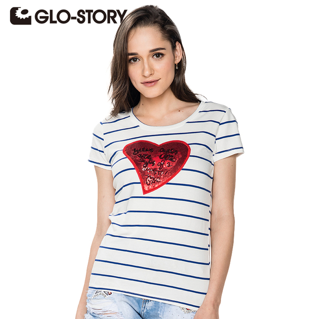 GLO-STORY Band 2017 Casual Women Clothing Striped T shirt with Sequined O-neck Women T-shirt Summer Lady Tops