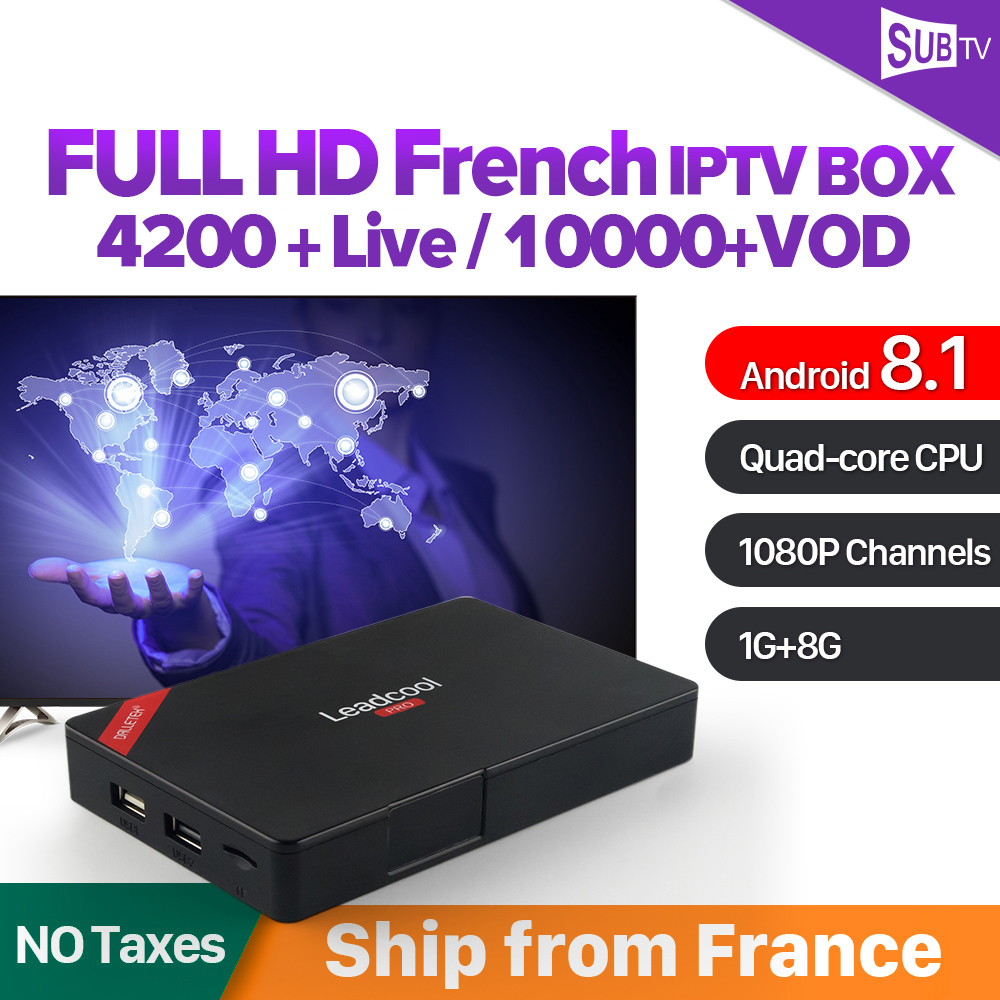 Leadcool Pro IPTV France Arabic Belgium Italia Receivers Android 8.1 TV Box SUBTV 1 Year Subscription French Canada