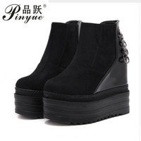 2018 Fashion Women Platform Ankle Boots Zipper Flat Heels Autumn Suede Shoes Wedges Casual Shoes Rubber Sole Female Party