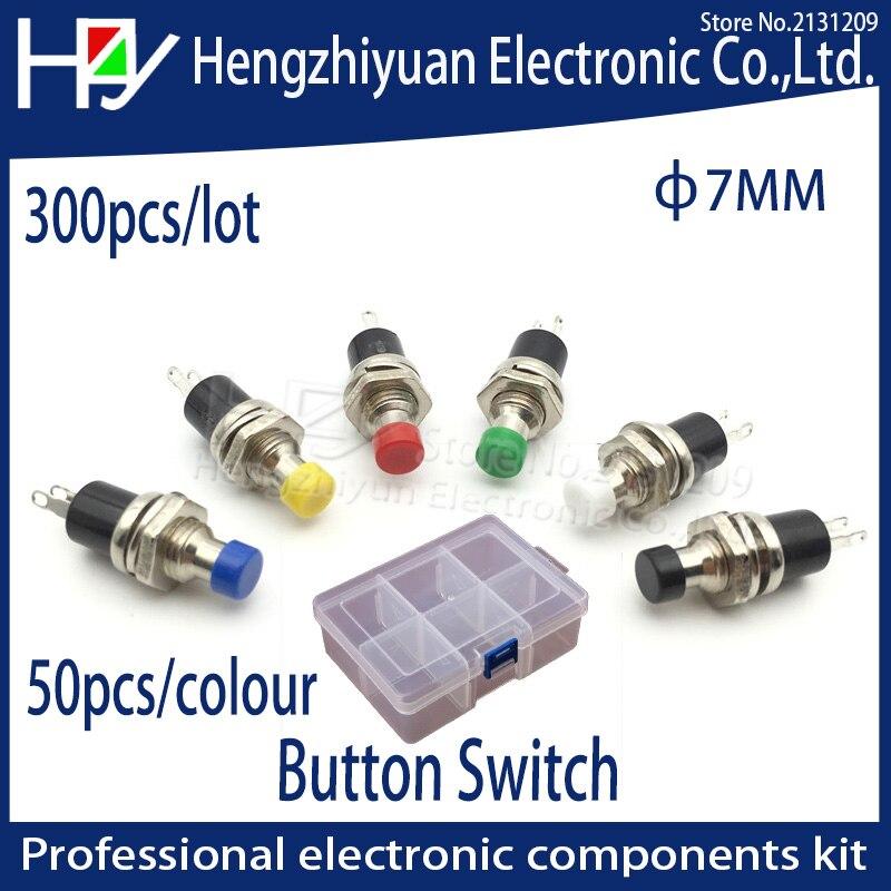 Hzy 300 pièces 7mm Momentanée On Off bouton-poussoir Micro Interrupteur Normalement Ouvert NO Momentanée bouton poussoir Appuyez Sur le bouton de réinitialisation