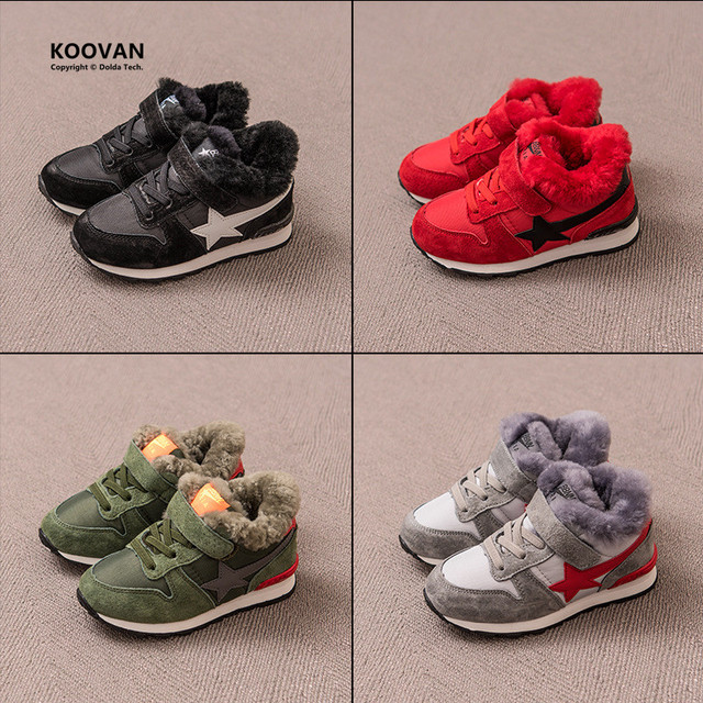 Koovan Children Sneakers 2017 Winter Children's Shoes Boys Girls Casual Sports Real Leather Wool Velvet Plus Warm Board Boots