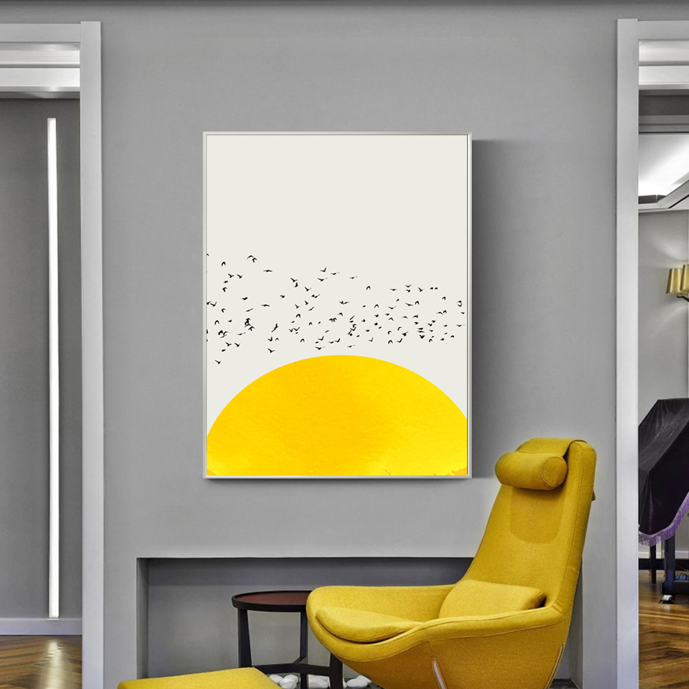 Thousands Of Birds Poster For Kid Room Wall Art White And Yellow ...
