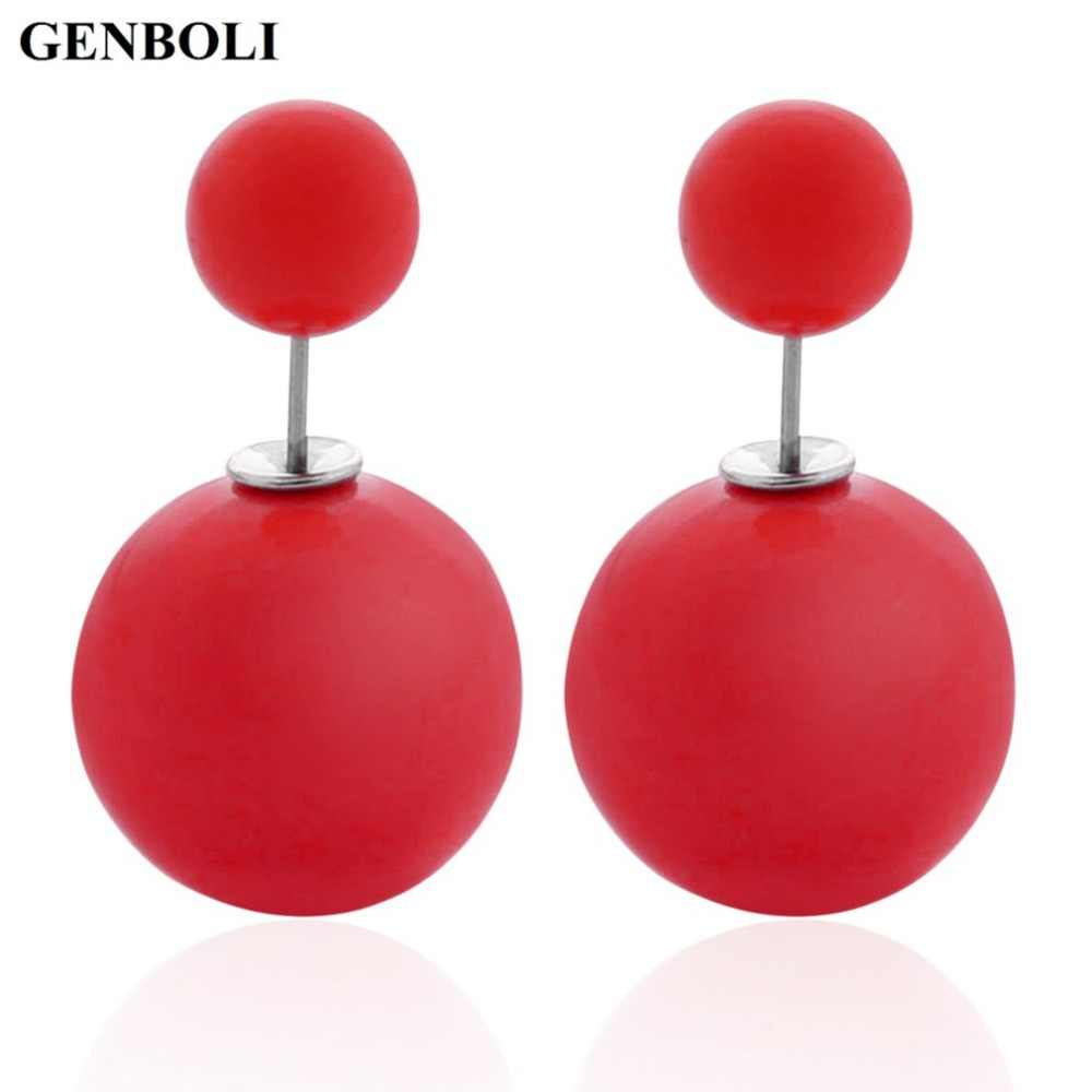 Double Sides Big Pearl Stud Earrings Candy Colors Rubber Big Ball Earrings Women Party Bead Ear Stud Jewelry 2018 Hot Selling