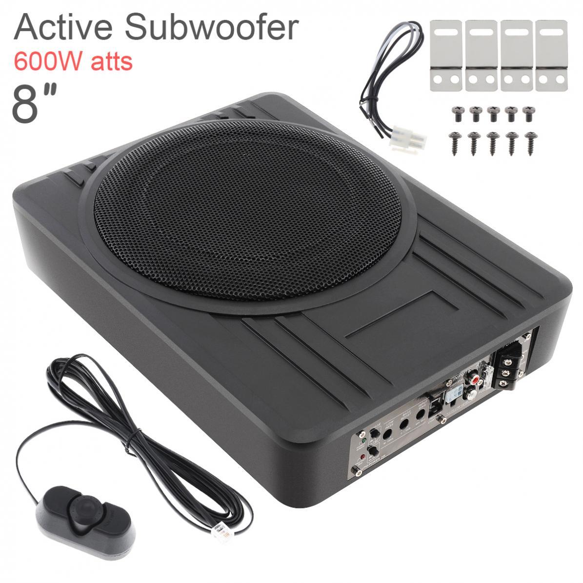 Noir universel 12V 8 pouces 600W Fuselage mince sous siège voiture Subwoofer actif amplificateur de basse haut-parleur
