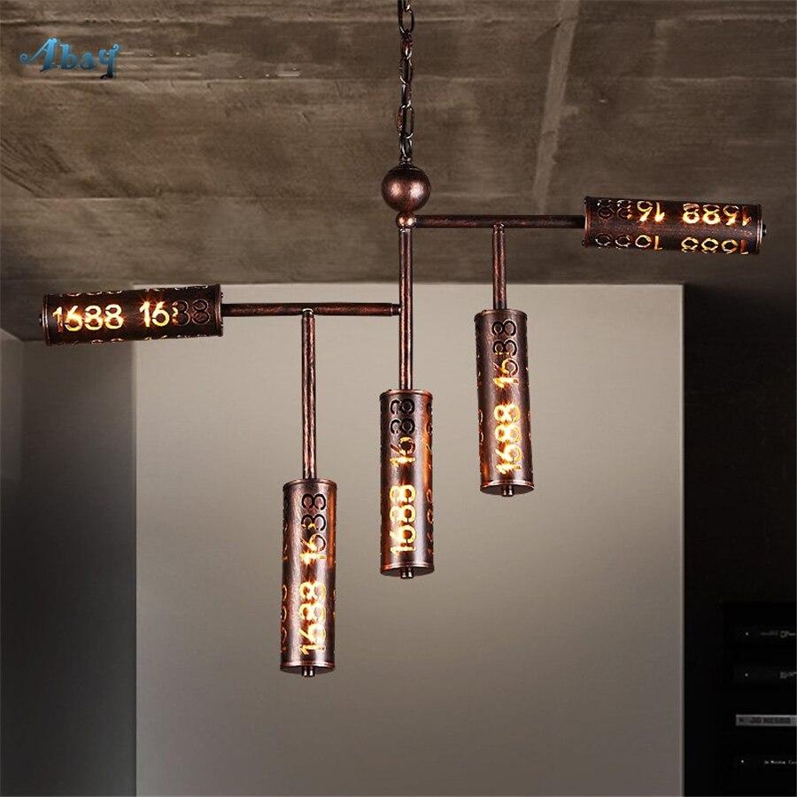 Lampes suspendues de Type tubulaire en fer de Village américain pour Bar café salle à manger lumière décoration industrielle lampe suspendue de pays E27