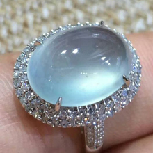 Luxury Big Blue Oval Moonstone Ring For Women Girl Fashion Crystal   Ring Engagement Jewelry Anillos Mujer L4T030 gorgeous faux crystal oval bracelet with ring for women