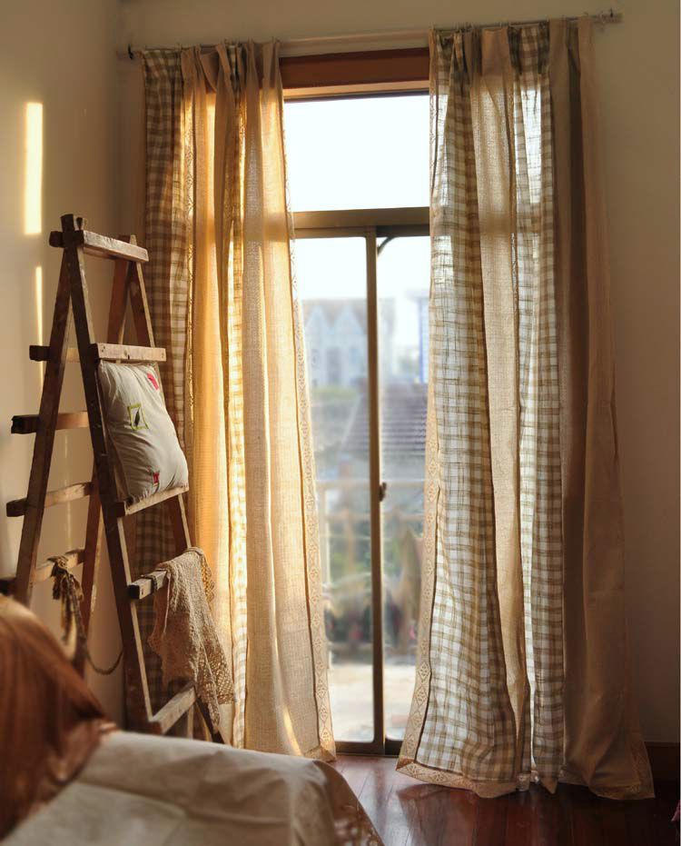 Free shipping Minimalist French Window juxtaposition plaid lace curtain bedroom the finished curtain W 170 cm H 250 cm