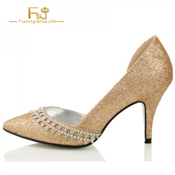 Gold D'orsay Pumps Glitter Shoes Rhinestone Stilettos Pointy Toe Pumps shoes ladies wedding party Pointed toe sexy FSJ sequined