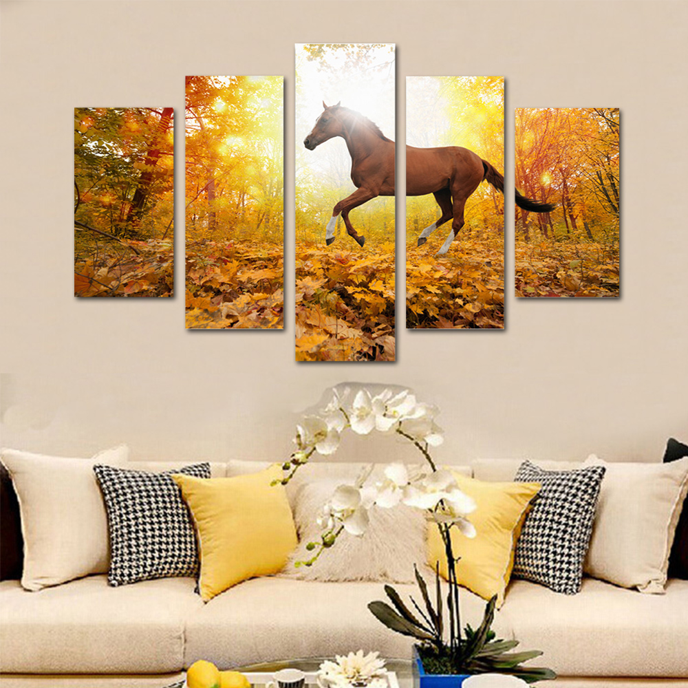 Unframed HD Print 5 Canvas Art Painting Deciduous Horse Living Room Decoration Spray Painting Mural Unframed Free Shipping