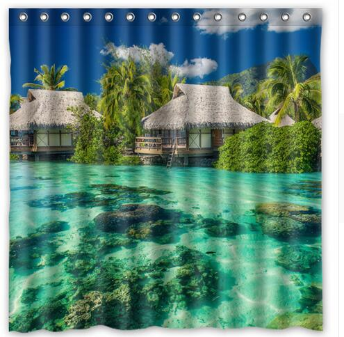 Tropics Palm Trees Ocean Vacation Polyester Fabric Shower Curtain 180x180cm  Waterproof Mildewproof Shower Curtains