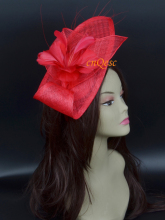 Red Sinamay fascinator hat derby hat. multi brimmed sinamay hat