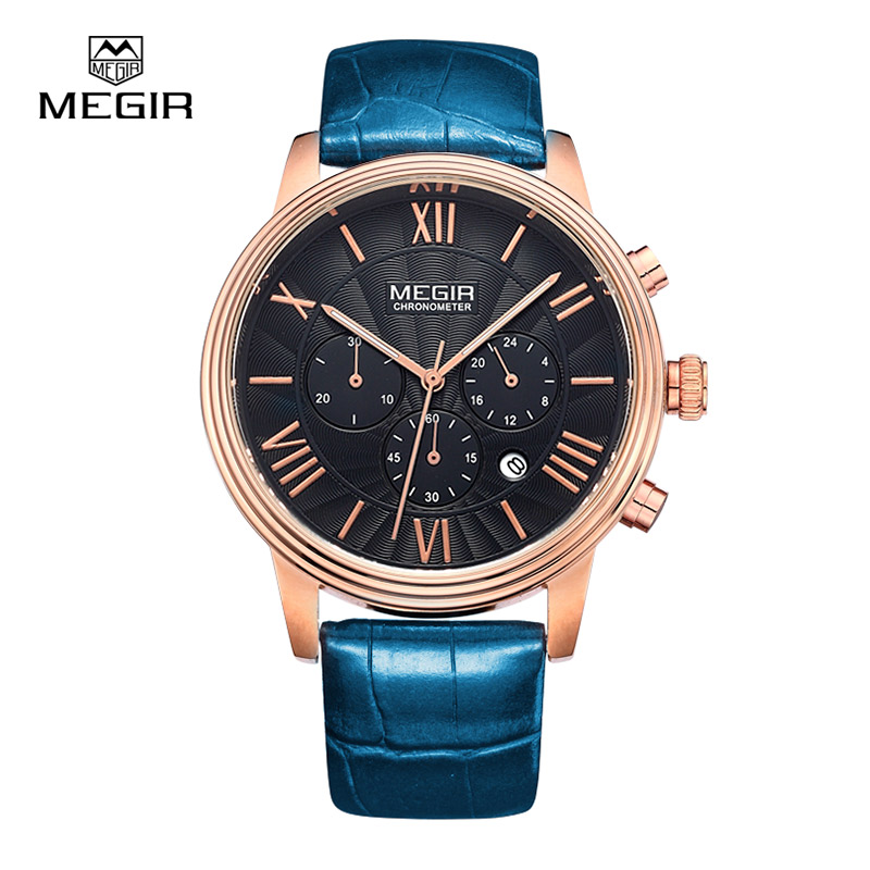 Megir sports quartz watch men genuine leather multifunctional watches waterproof wristwatch male2012 free shipping