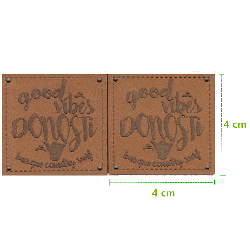 500PCS Custom Khaki pu leather labels emboss logo label clothing tag 4 4 cm