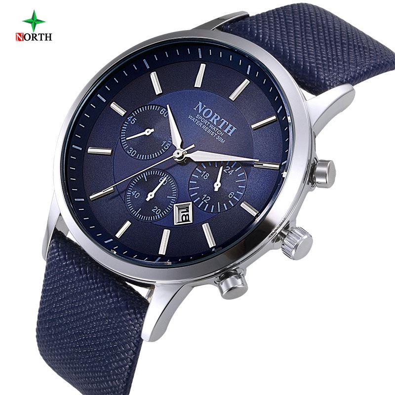 Prix pour Marque de luxe Nord Hommes Montres À Quartz En Cuir Véritable Imperméable Casual Poignet montres pour Homme Sport relogio masculino Horloge