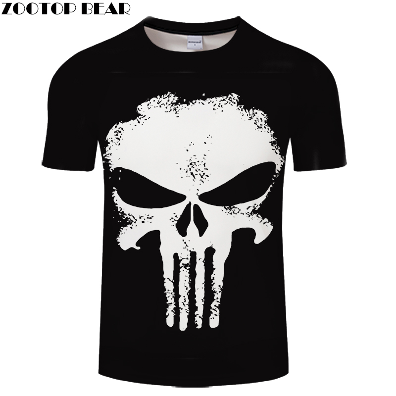 2018 Brand Clothing 3D T Shirt Men Punisher Design Summer Style Men T Shirt Fashion Plus Size Hip Hop Funny T Shirts Brand Top