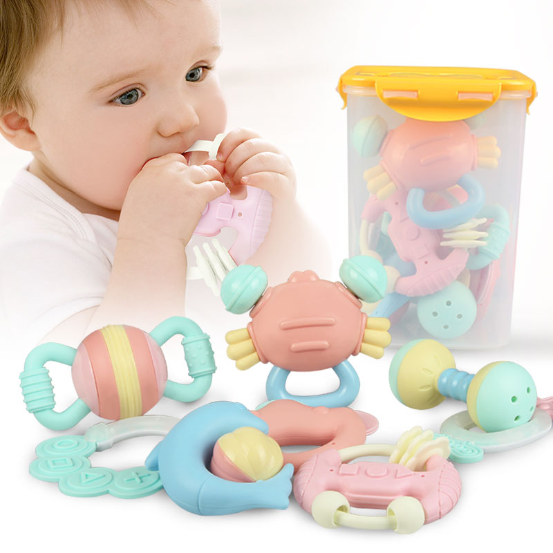 Meibeile Infant Toddler Soft Teether Musical Toy Set Hand Ring Bell Juguete Baby Rattles For Kids Early Intelligence Development
