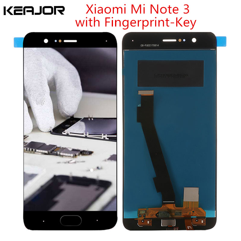 For Xiaomi Mi Note 3 Lcd Screen Tested Lcd Display+Touch Screen With Fingerprint-Key Part For Xiaomi Mi Note 3 Display 5.5inch